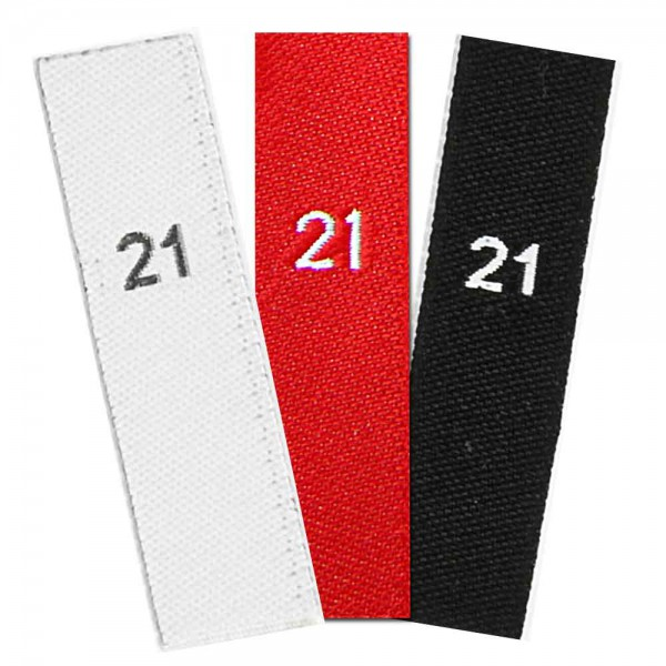 woven size labels - number 21