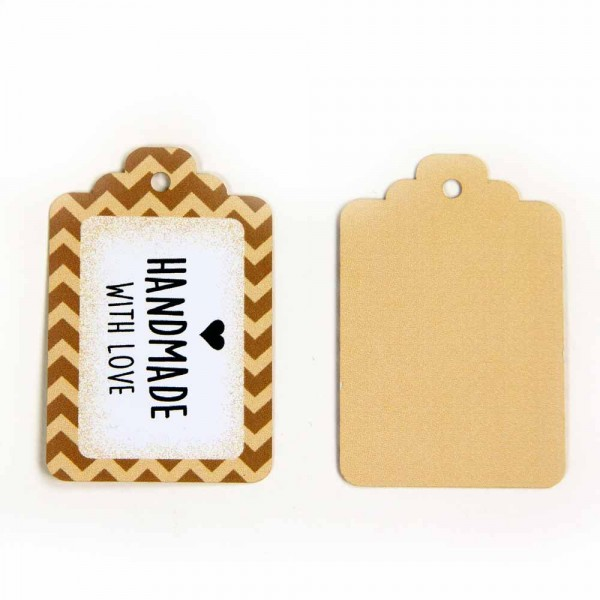 "Hang tags | étiquettes volantes ZickZack avec l'inscription ""handmade with love"""