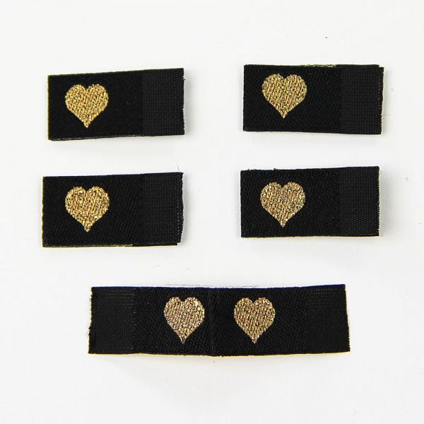 Fix&Fertig - Étiquette textile avec un cœur noir/doré avec taffetas
