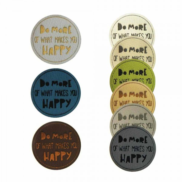 """Leather labels, with the inscription """"DO MORE OF WHAT MAKES YOU HAPPY"""""""
