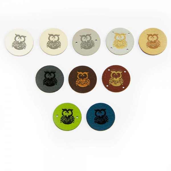 """Artificial leather labels """"owl"""" - round"""