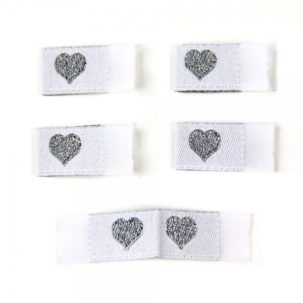 Fix&Fertig - Étiquette textile avec un cœur blanc/argentin avec taffetas