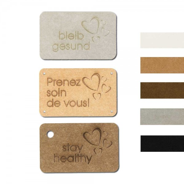"""SnapPap labels, with the inscription """"stay healthy"""""""