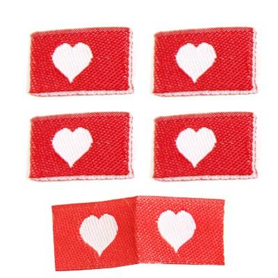 Fix&Fertig - Étiquette textile avec un cœr rouge/blanc 1