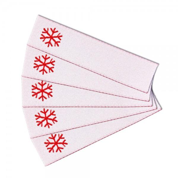 Textiletikett zum Beschriften Schneeflocke, Webetikett