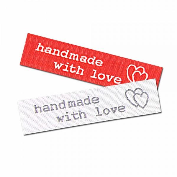 """Textiletiketten """"handmade with love"""", Wäscheetikett"""