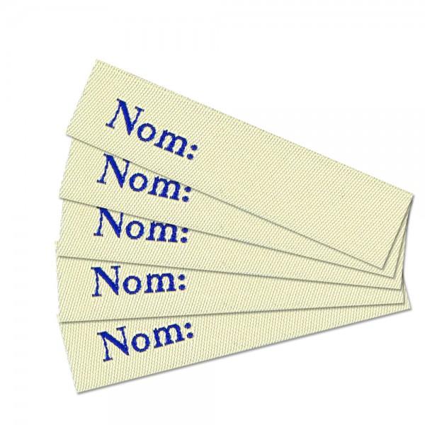 Textiletikett zum Beschriften Nom, Webetikett