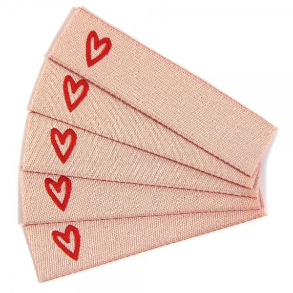 Textiletikett zum Beschriften Herz, Webetiketten