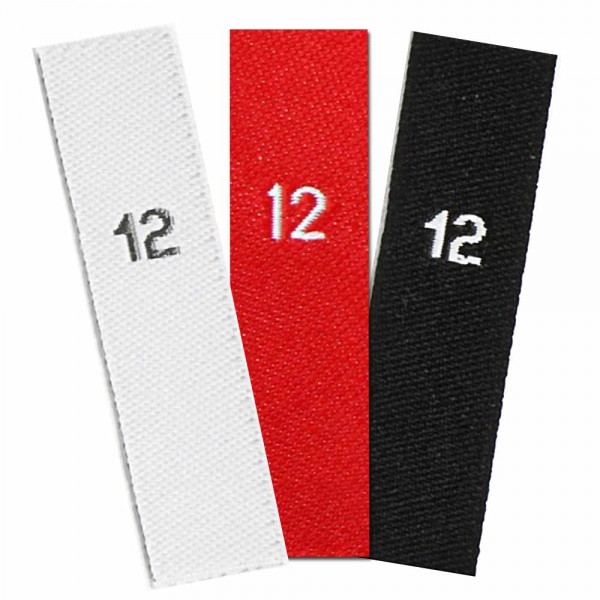 woven size labels - number 12