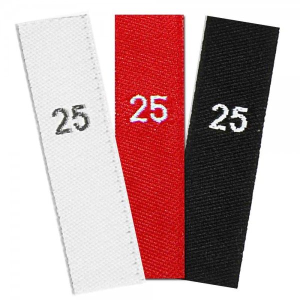 woven size labels - number 25