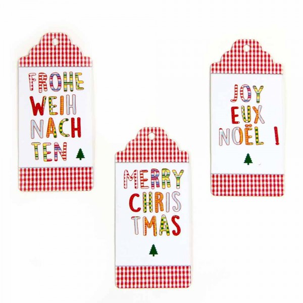 "Hang tag ""Merry Christmas"" checkered"