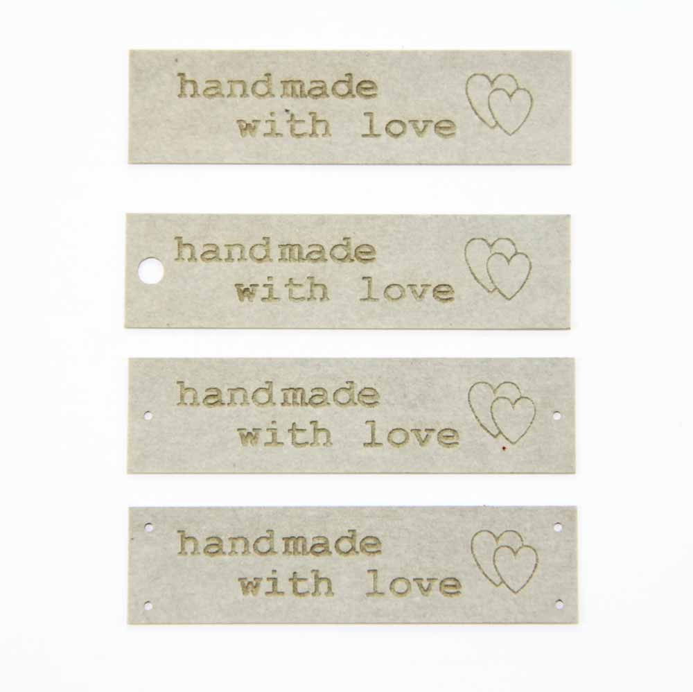 5 labels Made with Love made of SnapPap