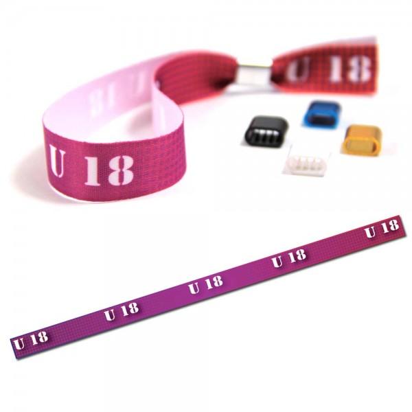 "Partyarmband ""U 18"" Design 1, Eintrittsband"