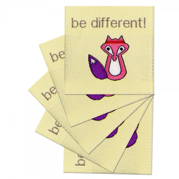 "Textiletiketten ""be different"", Webetiketten"