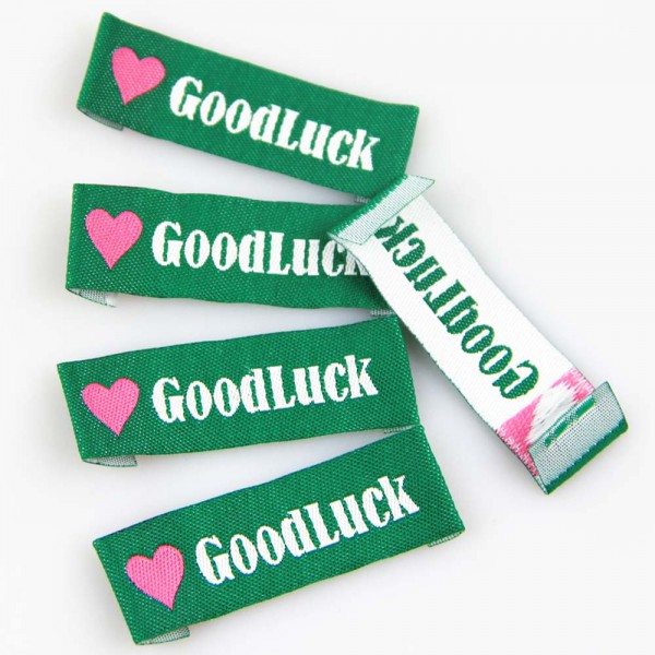 "Textiletiketten ""Good Luck"", Webetiketten"