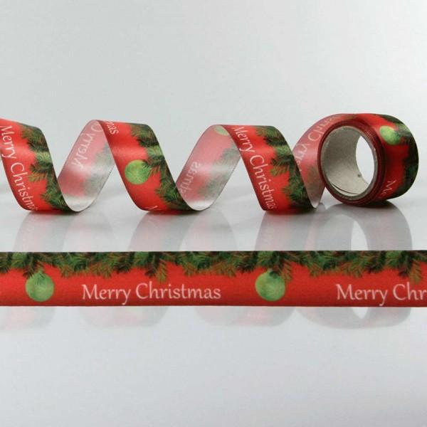 Satin-Geschenkband Merry Christmas, Dekoband