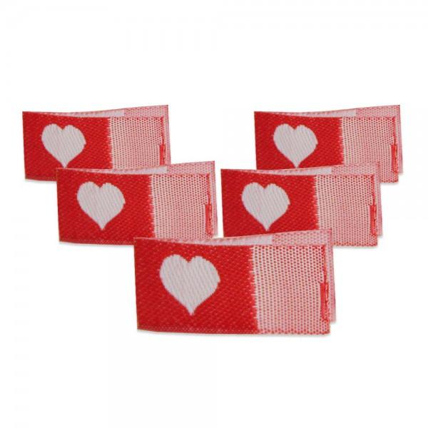 Fix&Fertig - Étiquette textile avec un cœr rouge/blanc avec taffetas 1