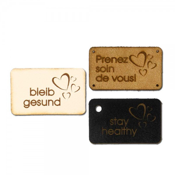 "Leather labels, with the inscription ""stay healthy"""