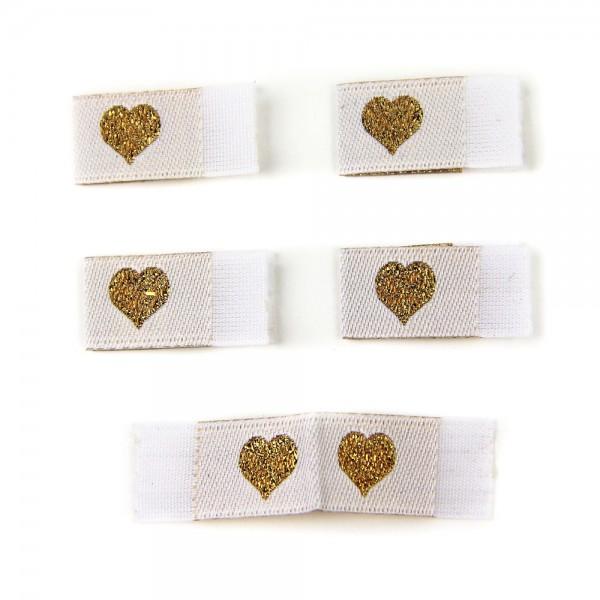 Fix&Fertig - Étiquette textile avec un cœr blanc/doré avec taffetas