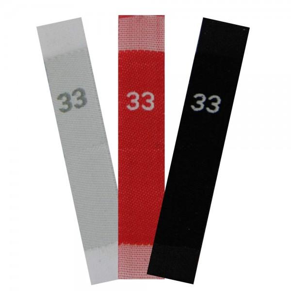 taille étiquettes tissées avec le chiffre 33