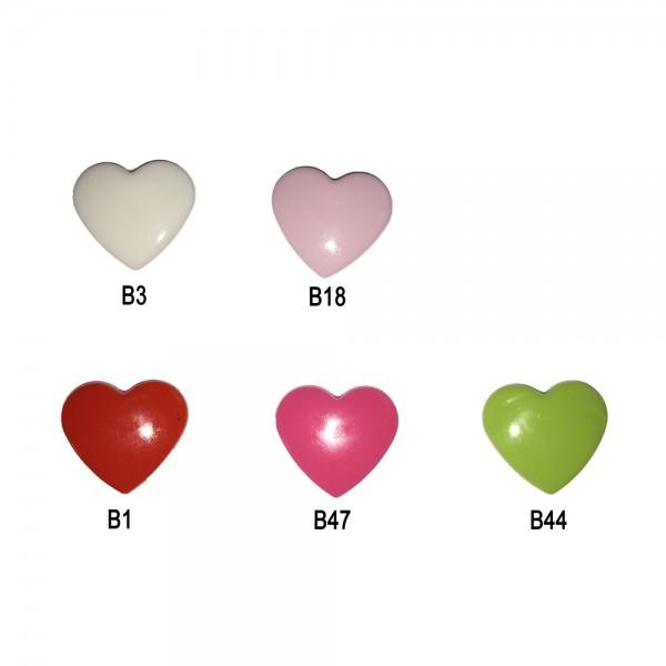 Plastic Pins - Heart (Kam Snaps)